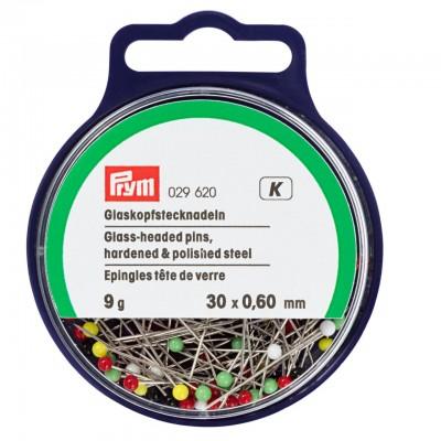 029265,   Булавки со стекляной головкой 30 мм  в коробке Prym (Германия), Булавки